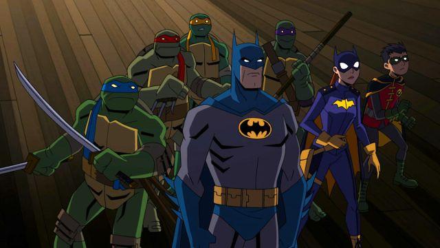 Batman, Batgirl, Robin, Leonardo, Raphael, Michelangelo y Donatello en Batman vs. Teenage Mutant Ninja Turtles (2019). Imagen: Warner Bros. Home Entertainment