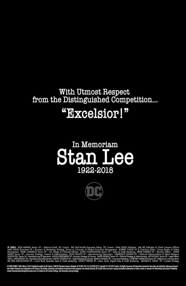 In Memoriam Stan Lee (1922-2018) en Action Comics #1,006 (2019). Imagen: Comic Book Resources (CBR).