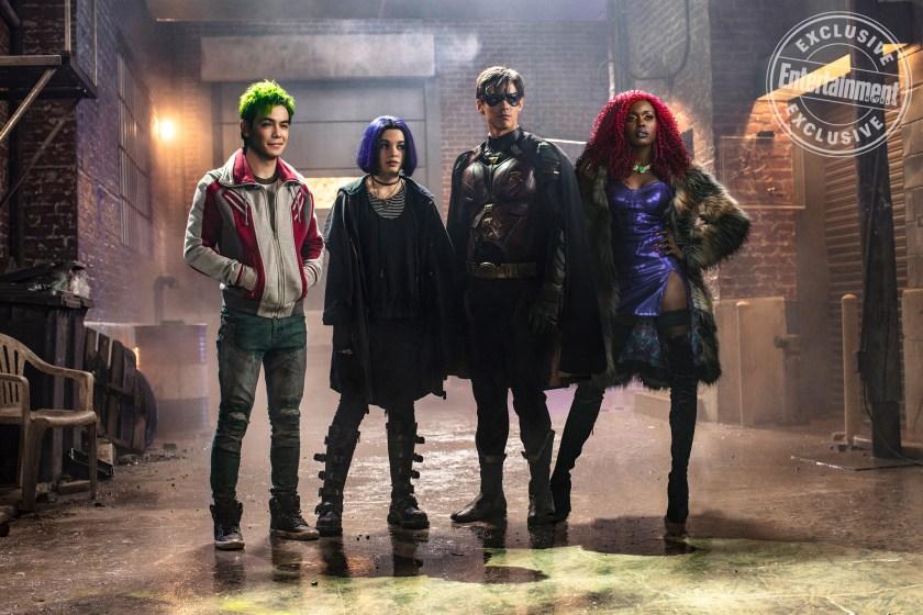 Beast Boy (Ryan Potter), Raven (Teagan Croft), Robin (Brenton Thwaites) y Starfire (Anna Diop) son los Titans. Imagen: Entertainment Weekly