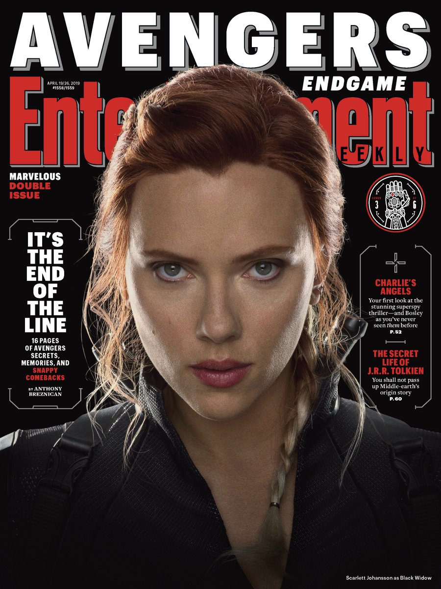 Black Widow (Scarlett Johansson) en Entertainment Weekly #1558-1559 (19-26 de abril de 2019). Imagen: Marvel Studios Twitter (@MarvelStudios).