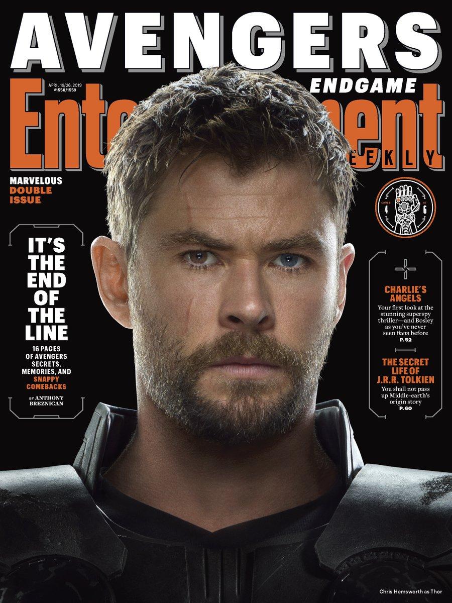 Thor (Chris Hemsworth) en Entertainment Weekly #1558-1559 (19-26 de abril de 2019). Imagen: Marvel Studios Twitter (@MarvelStudios).
