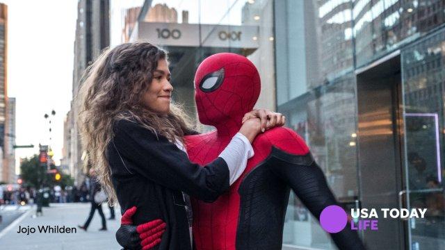MJ (Zendaya) y Spider-Man (Tom Holland) en Spider-Man: Far From Home (2019). Imagen: USA TODAY Life Twitter (@usatodaylife).