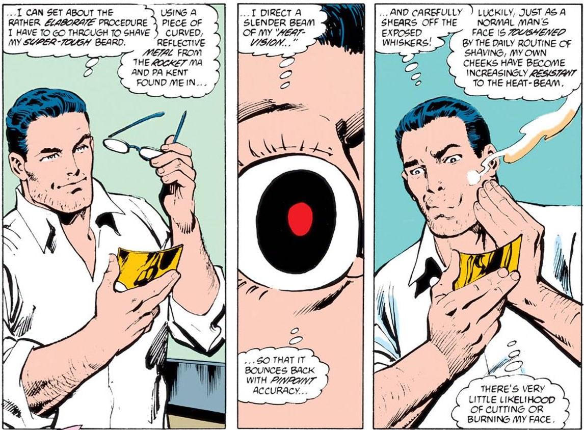 Clark Kent afeitándose en The Man of Steel #4 (noviembre de 1986). Imagen: reddit.com
