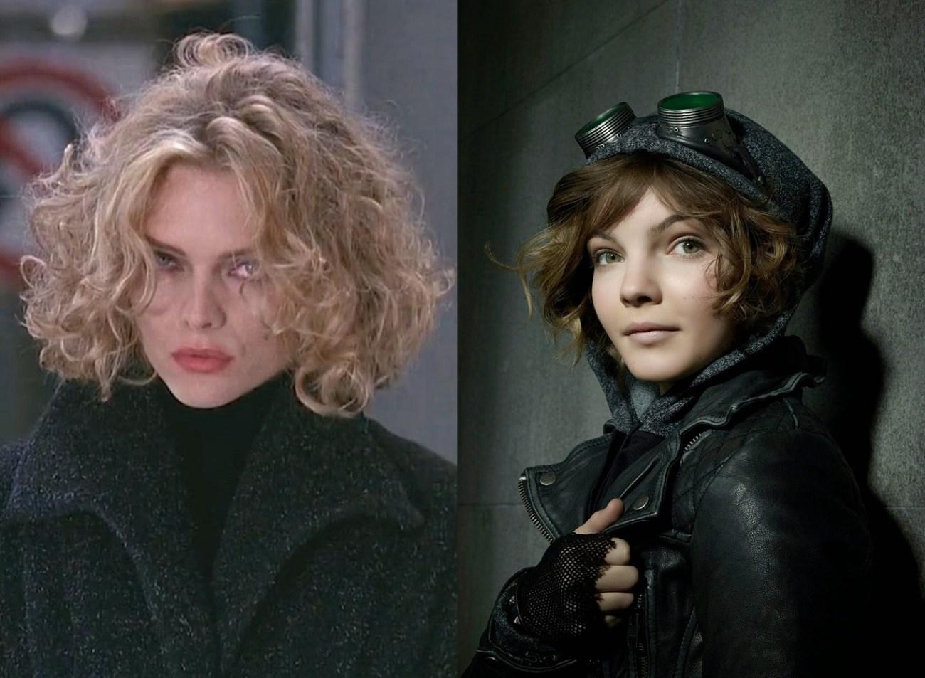 Dos rostros de Selina Kyle: Michelle Pfeiffer (Batman Returns) y Camren Bicondova (Gotham). Imagen: pinterest.com