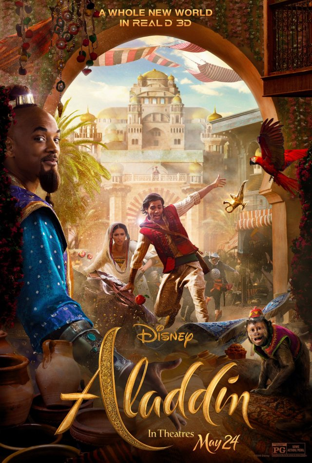 Póster RealD 3D de Aladdin (2019). Imagen: Disney's Aladdin Twitter (@disneyaladdin).