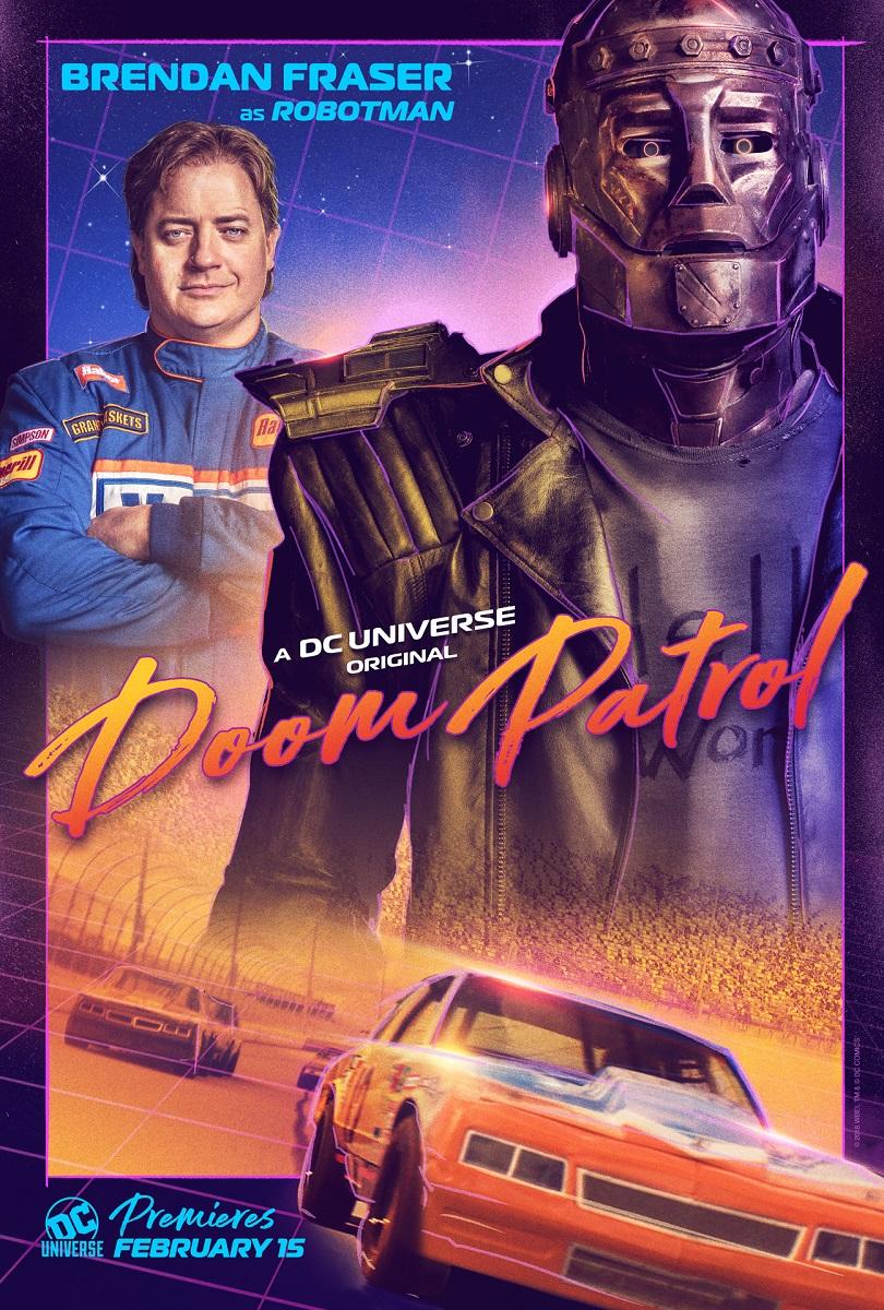 Robotman/Cliff Steel (Brendan Fraser) en un póster de Doom Patrol. Imagen: dccomics.com