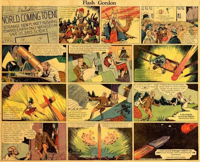 La primera tira cómica de Flash Gordon (7 de enero de 1934). Imagen: scottedelman.com