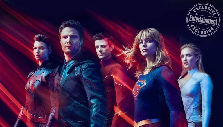 Batwoman (Ruby Rose), Green Arrow (Stephen Amell), Flash (Grant Gustin), Supergirl (Melissa Benoist) y White Canary (Caity Lotz) son superhéroes en el Arrowverse. Imagen: Carlos Serrao/Entertainment Weekly