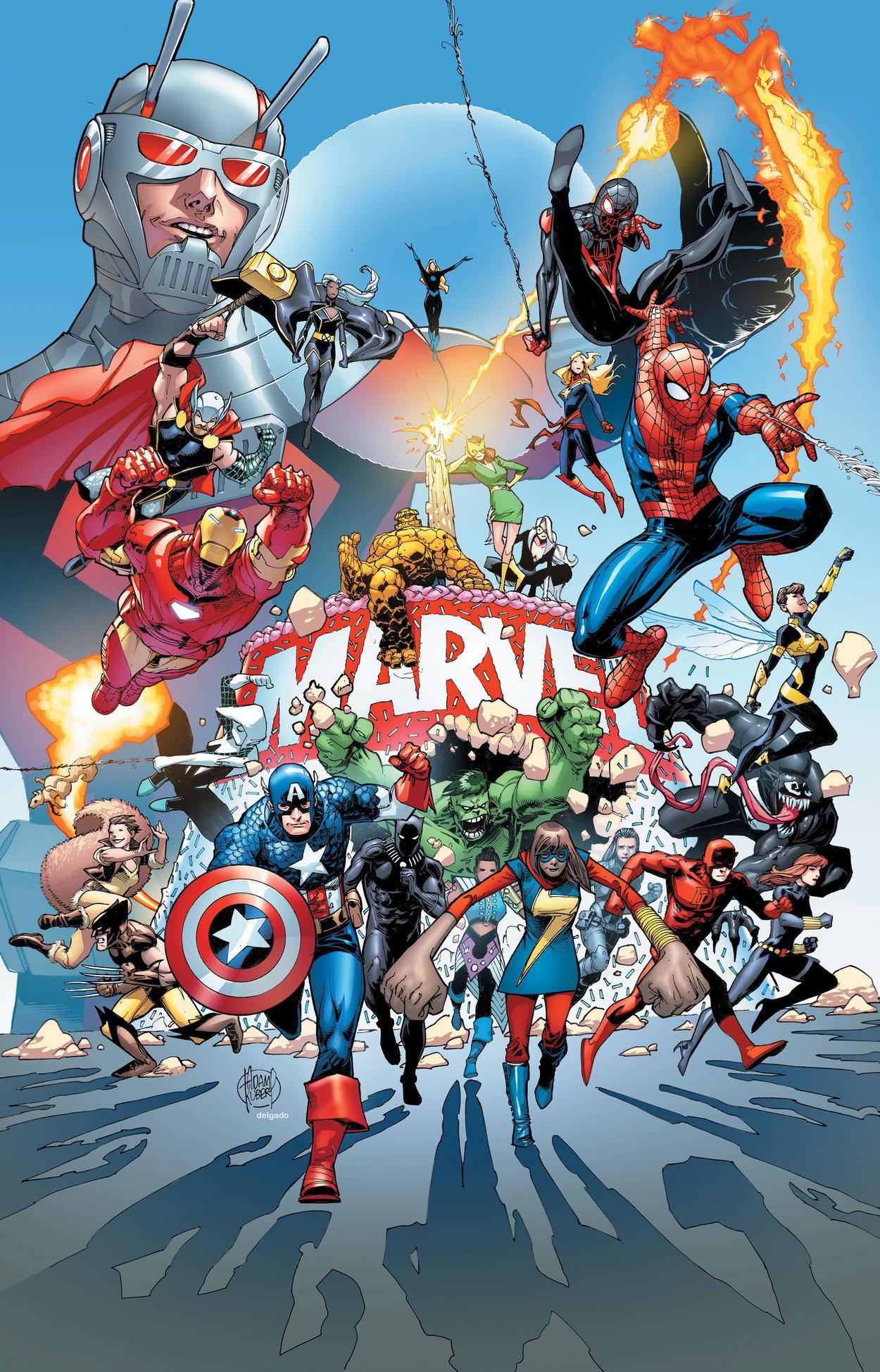 Arte del 80º. Aniversario de Marvel por Adam Kubert. Imagen: Marvel.com