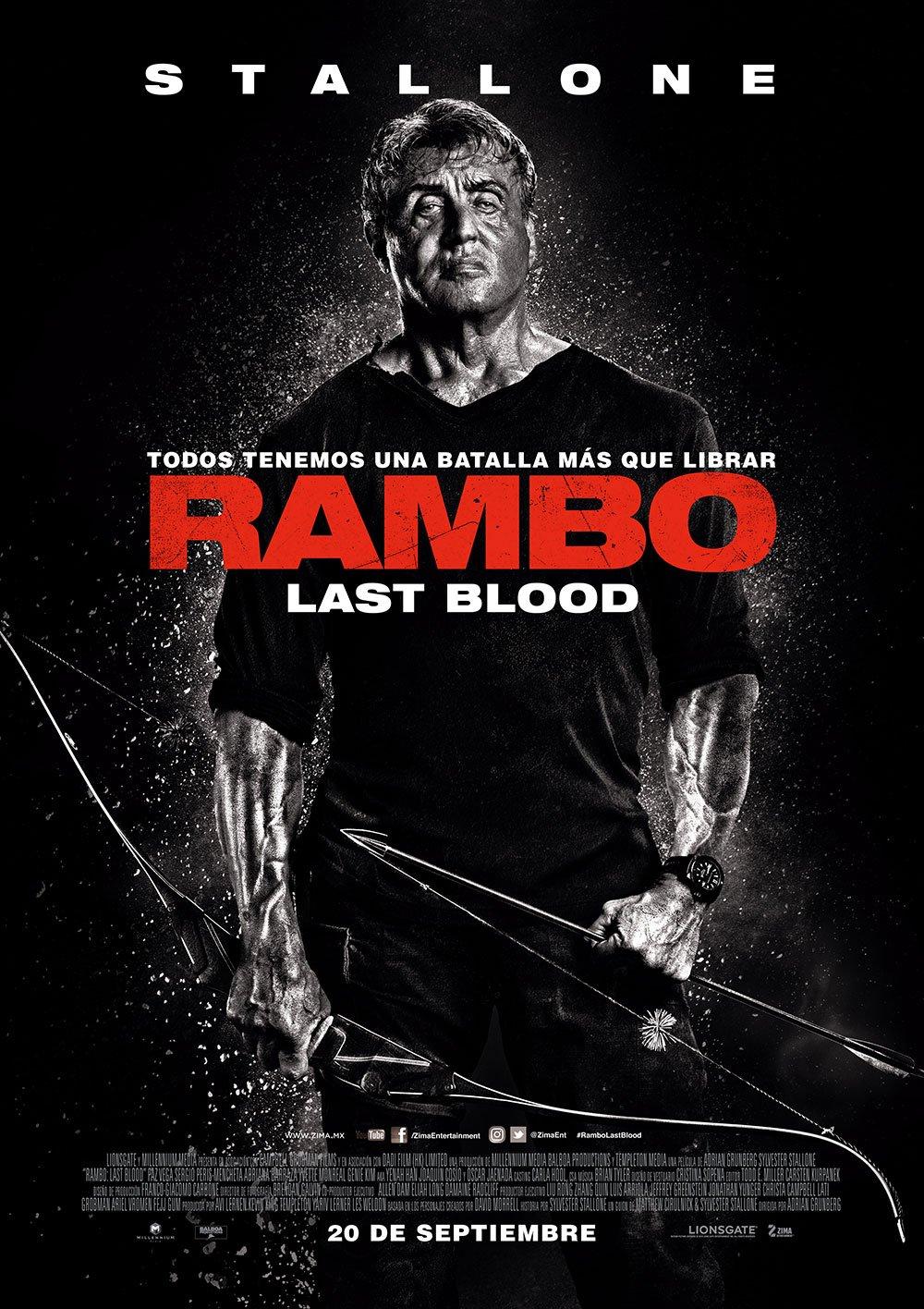 Póster de Rambo: Last Blood (2019). Imagen: Cinépolis Twitter (@Cinepolis).