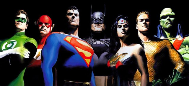Green Lantern, Flash, Superman, Batman, Wonder Woman, Aquaman y Martian Manhunter en JLA: The Original Seven (2000). Arte por Alex Ross. Imagen: Alex Ross Twitter (@thealexrossart).