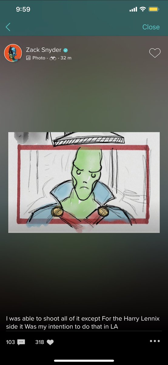 Martian Manhunter en un storyboard de Justice League (2017). Imagen: Nathaniel Brail Twitter (@NateBrail).