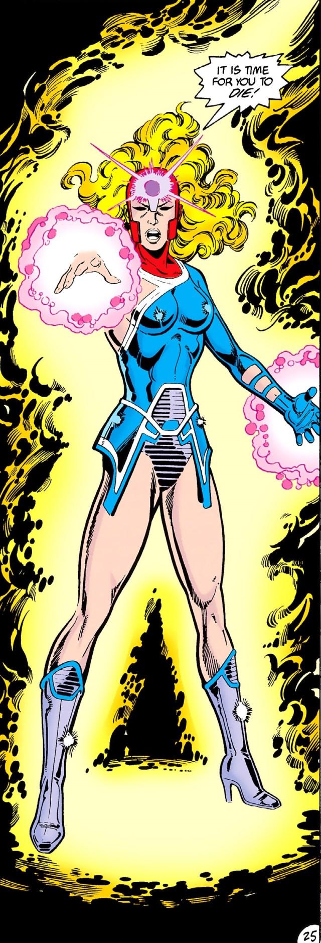 Harbinger en Crisis on Infinite Earths #3 (junio de 1985). Imagen: dc.fandom.com