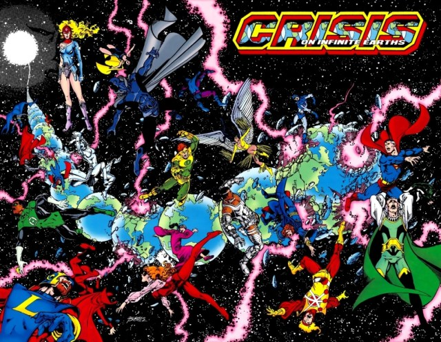 Portada de Crisis on Infinite Earths #1 (abril de 1985). Arte por George Pérez. Imagen: dc.fandom.com