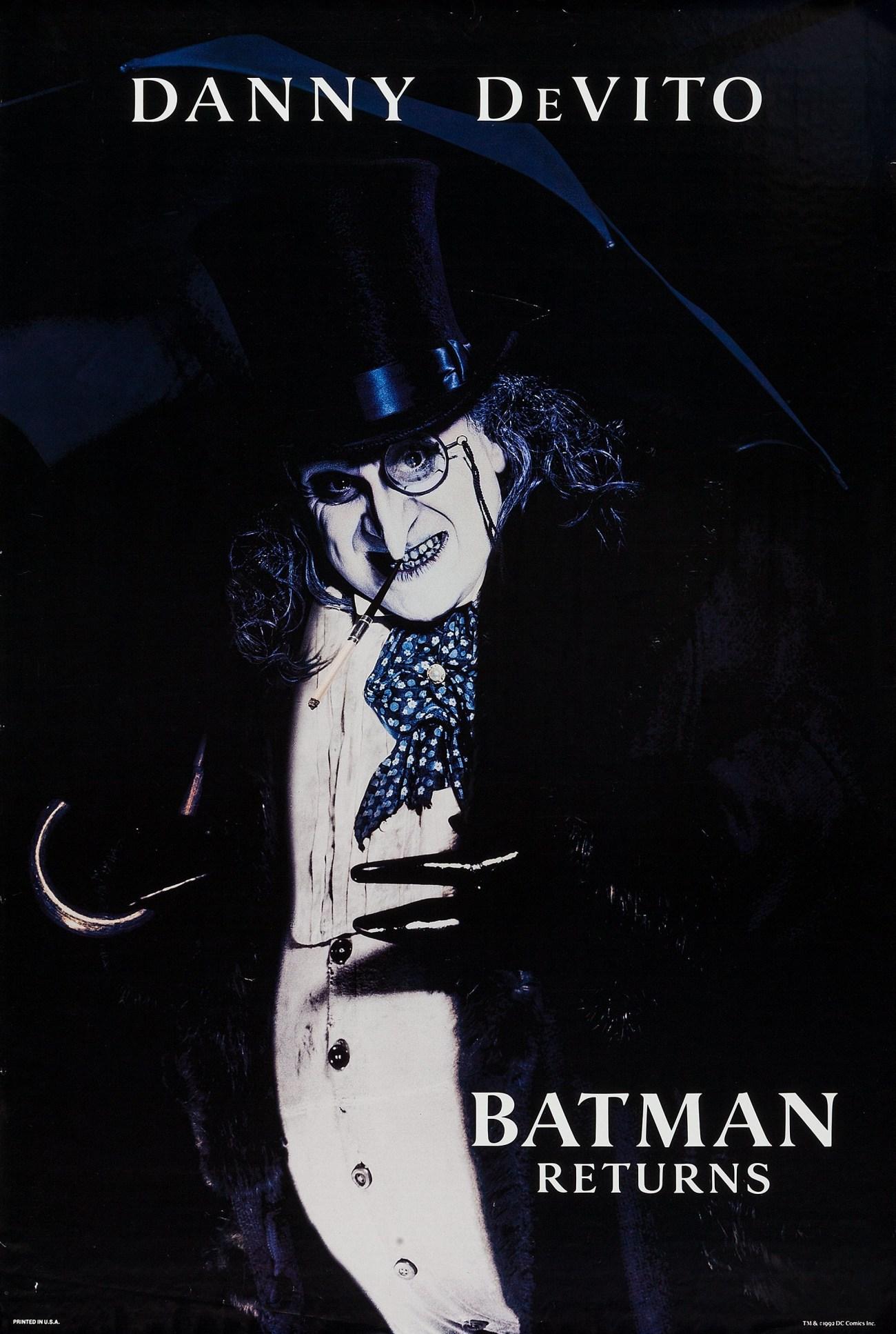 The Penguin (Danny DeVito) en un póster de Batman Returns (1992). Imagen: impawards