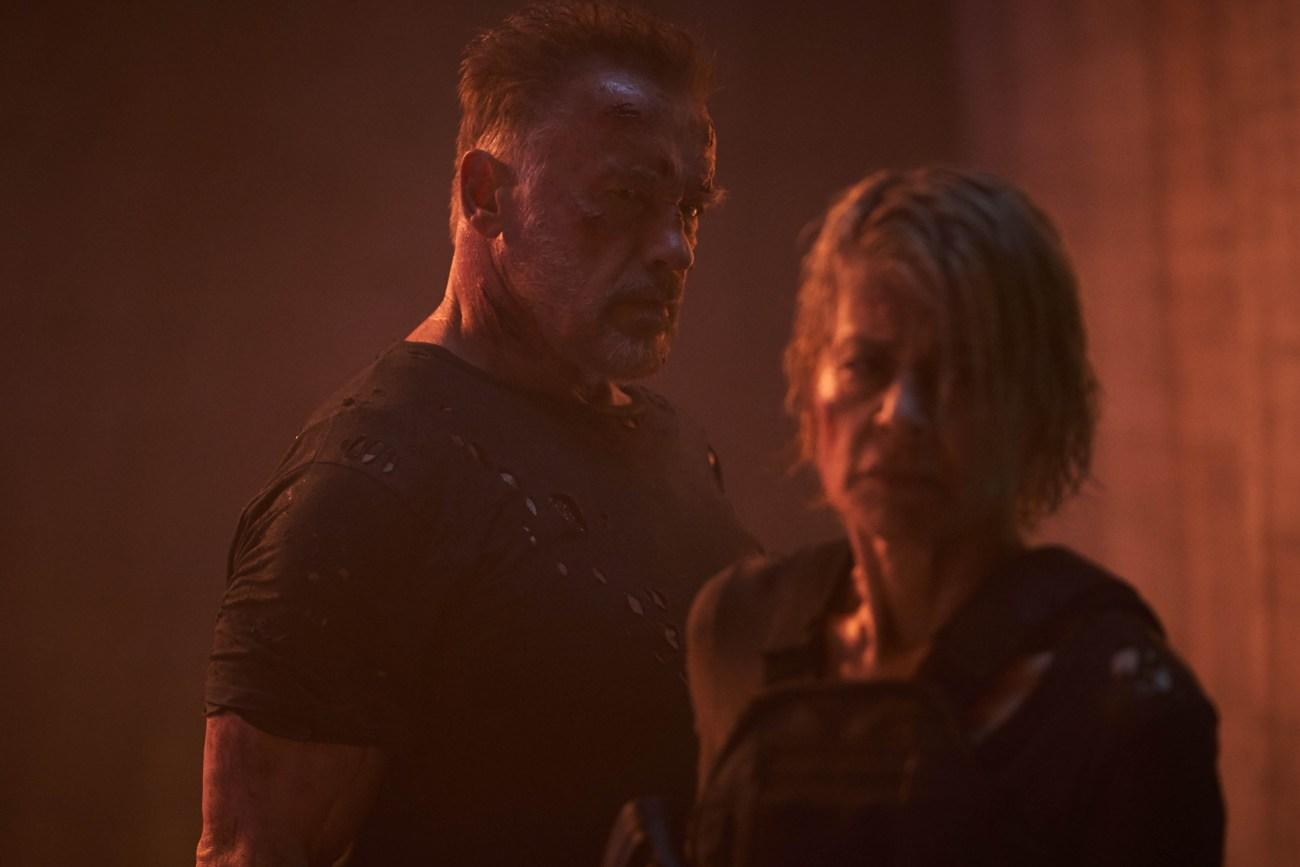 Arnold Schwarzenegger y Linda Hamilton en Terminator: Dark Fate (2019). Imagen: ComicBookMovie.com (CBM).