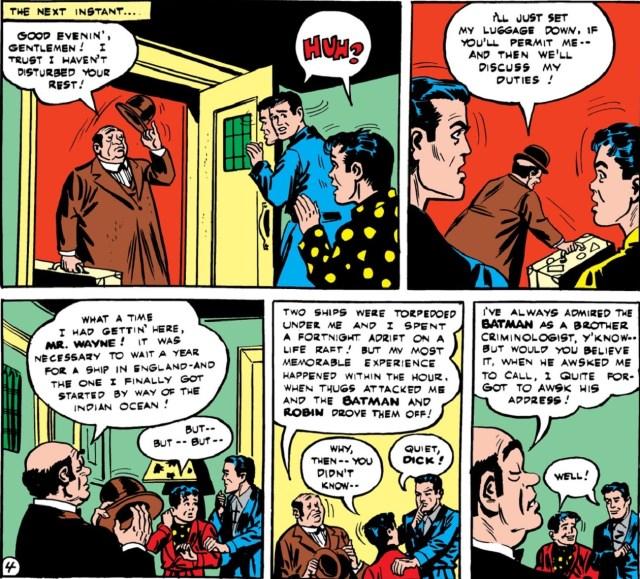 Alfred Beagle presentándose ante Bruce Wayne y Dick Grayson en Batman #16 (abril de 1943). Imagen: DC Universe