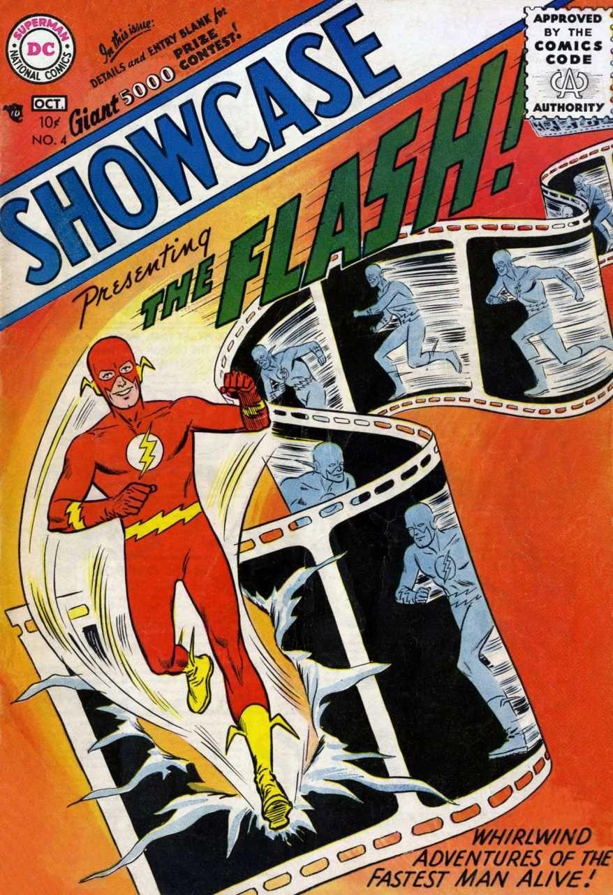 Portada de Showcase #4 (octubre de 1956), la primera aparición de Flash/Barry Allen. Imagen: pinterest.com