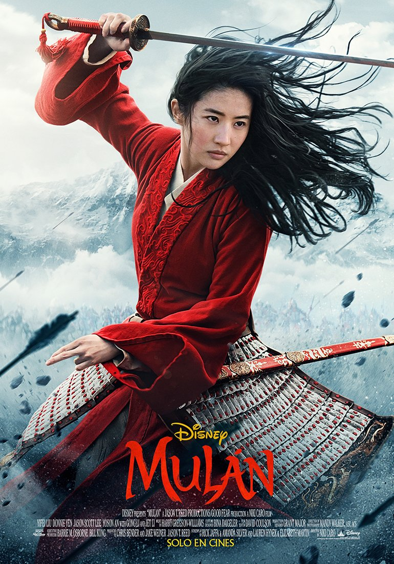 Póster latino de Mulan (2020). Imagen: Disney Latino Twitter (@DisneyLA).