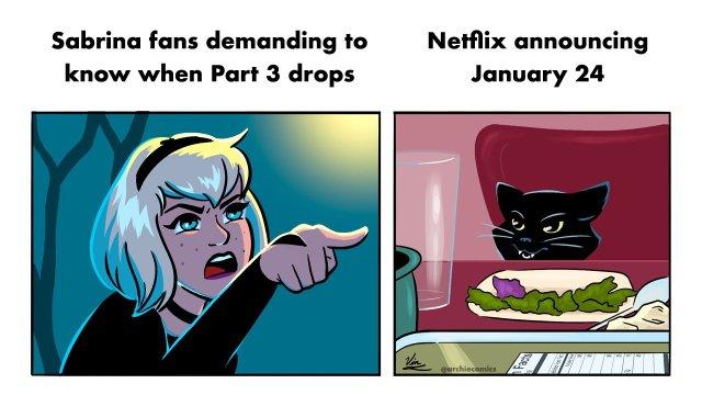 La fecha de estreno para la Parte 3 de Chilling Adventures of Sabrina. Imagen: Archie Comics Twitter (@ArchieComics).