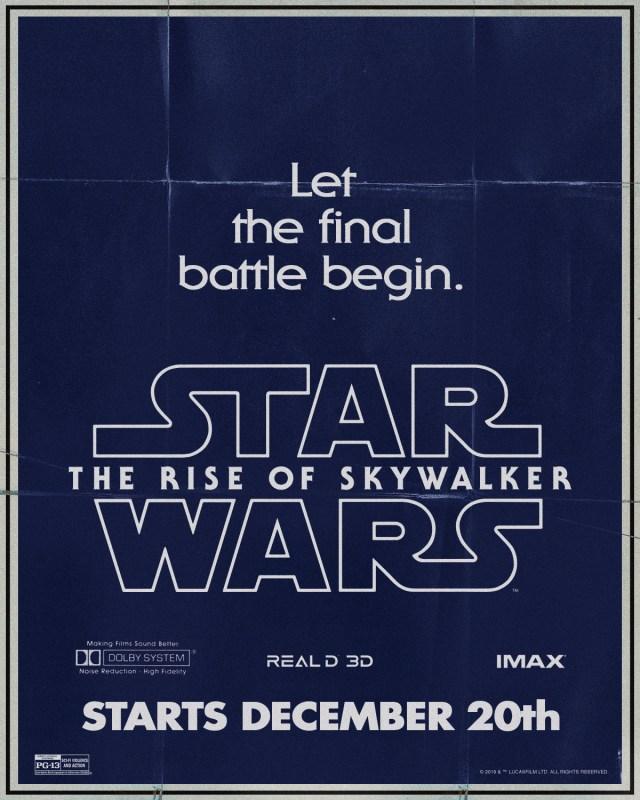 Póster de Star Wars: The Rise of Skywalker (2019). Imagen: Star Wars Twitter (@StarWars).