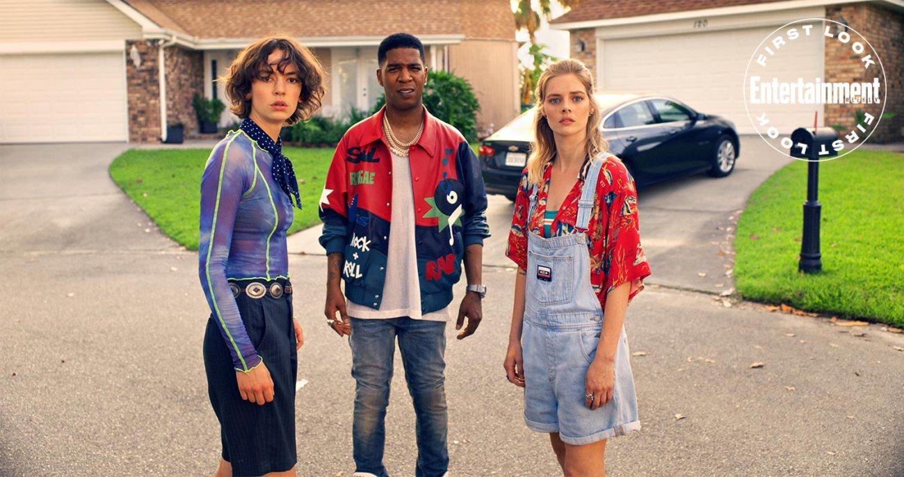 Brigette Lundy-Paine como Billie Logan, Kid Cudi como él mismo y Samara Weaving como Thea Preston en Bill & Ted Face the Music (2020). Imagen: Orion Pictures