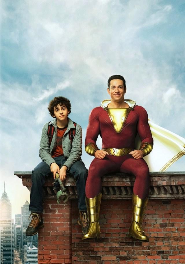 Freddy Freeman (Jack Dylan Grazer) y Shazam (Zachary Levi) en arte promocional de Shazam! (2019). Imagen: fanart.tv