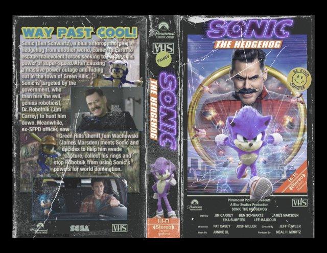 ¿Qué tal si Sonic the Hedgehog (2020) saliera en formato VHS?. Imagen: alex Twitter (@clobberinthyme).