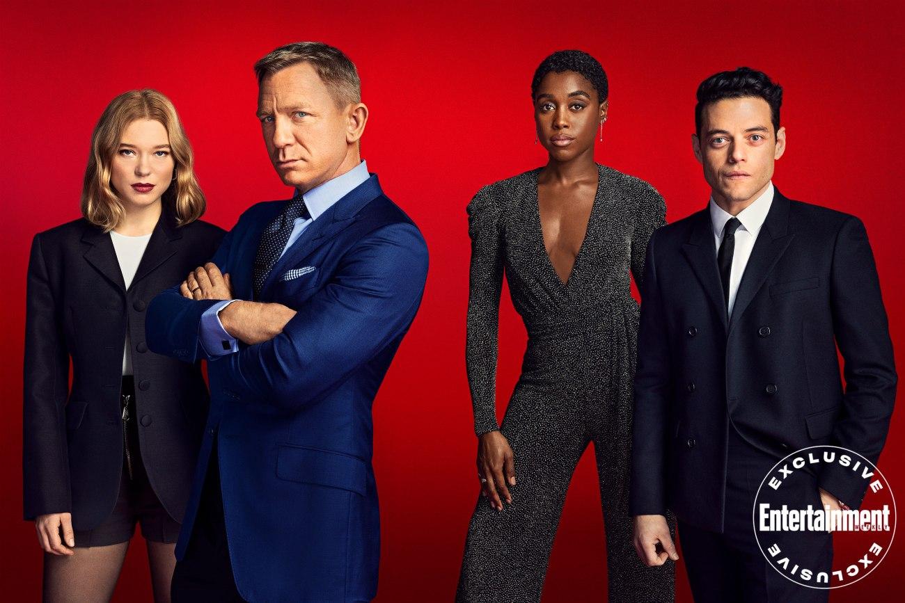 Los protagonistas de No Time to Die (2020): Léa Seydoux, Daniel Craig, Lashana Lynch y Rami Malek. Imagen: Pari Dukovic/Entertainment Weekly