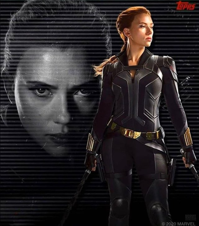 Scarlett Johansson como Natasha Romanoff/Black Widow en una tarjeta coleccionable de Black Widow (2020). Imagen: Black Widow Movie Twitter (@BlackWidow_Film).