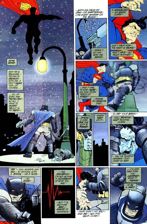 Batman vs. Superman en Batman: The Dark Knight Returns #4 (junio de 1986). Imagen: pinterest.com