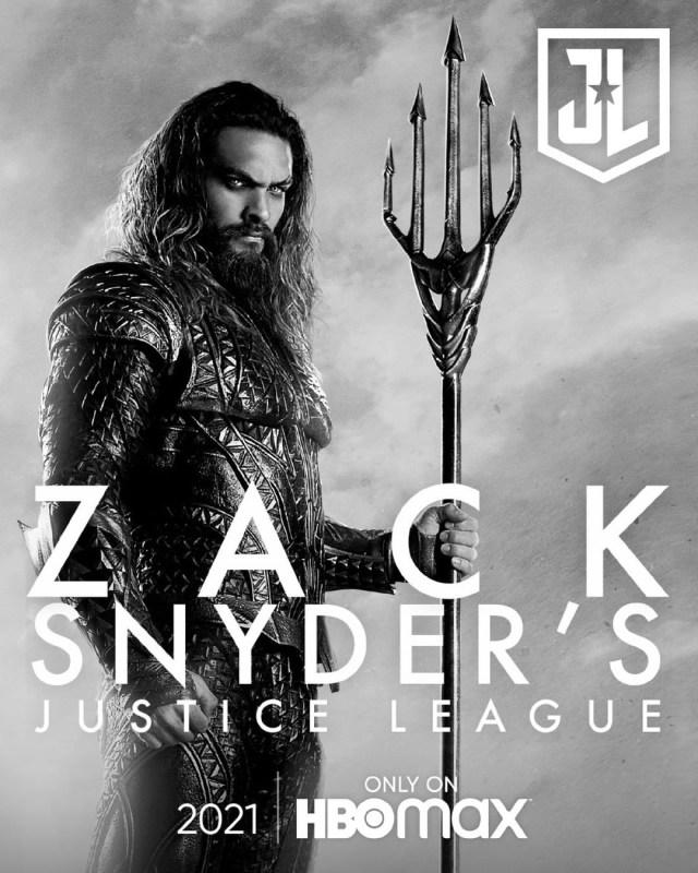 Aquaman (Jason Momoa) en un póster del Snyder Cut de Justice League (2017). Imagen: sneakpeek.ca