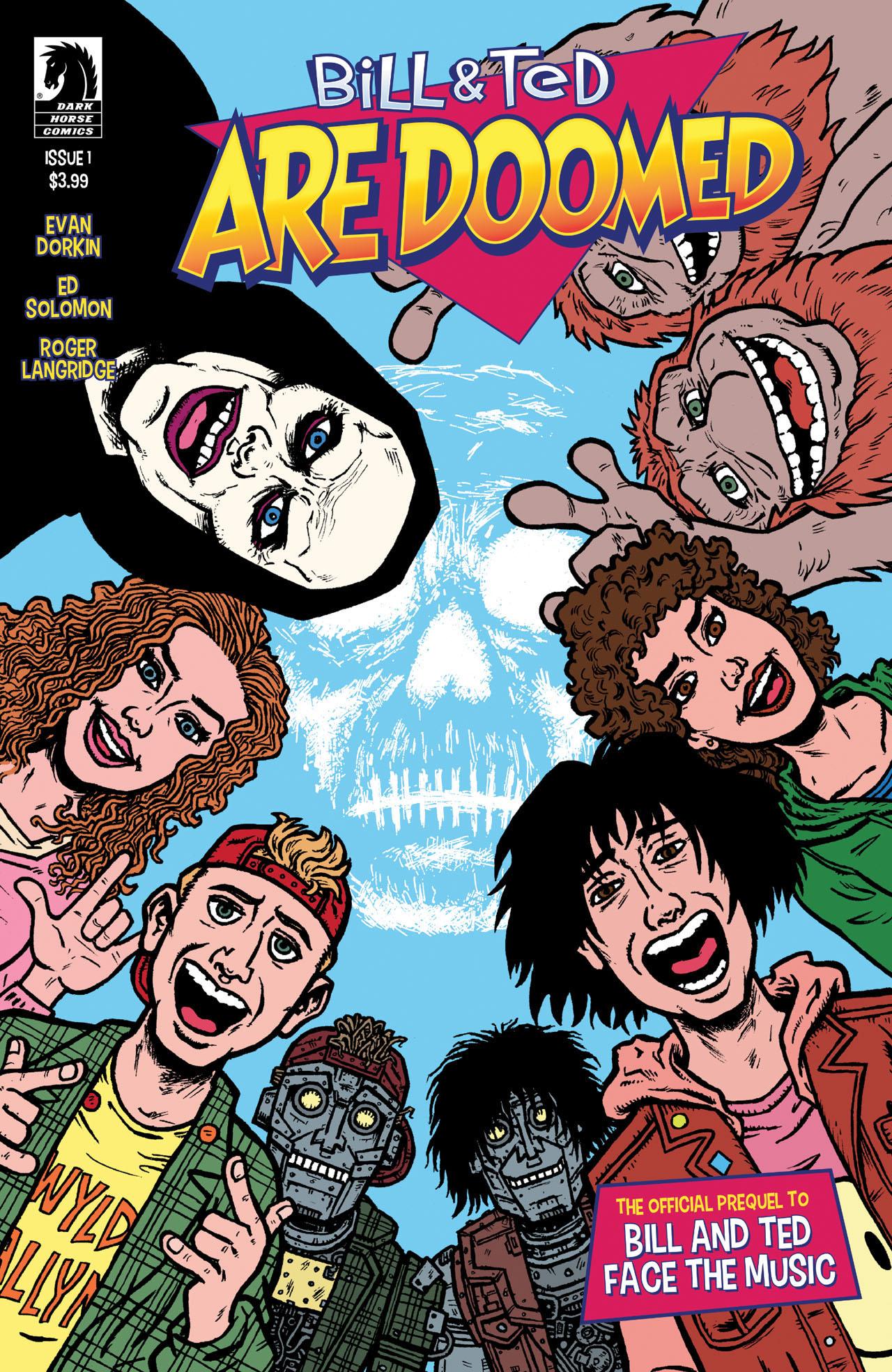 Portada de Bill & Ted Are Doomed #1 (2020). Arte por Evan Dorkin y Sarah Dyer. Imagen: Dark Horse Comics