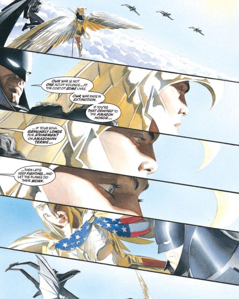 Batman y Wonder Woman en Kingdom Come #4 (agosto de 1996). Arte por Alex Ross. Imagen: Alex Ross Twitter (@thealexrossart).