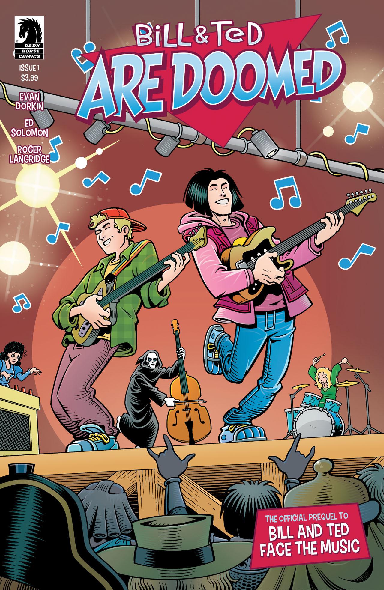 Portada de Bill & Ted Are Doomed #1 (2020). Arte por Roger Langridge. Imagen: Dark Horse Comics