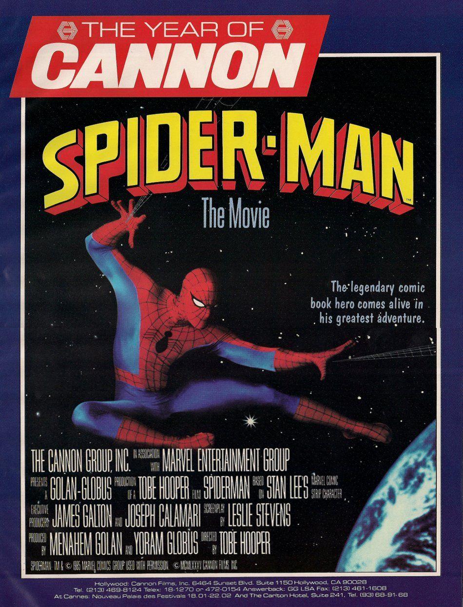 Anuncio de la película no producida de Spider-Man por Cannon Films (1985). Imagen: pinterest.com