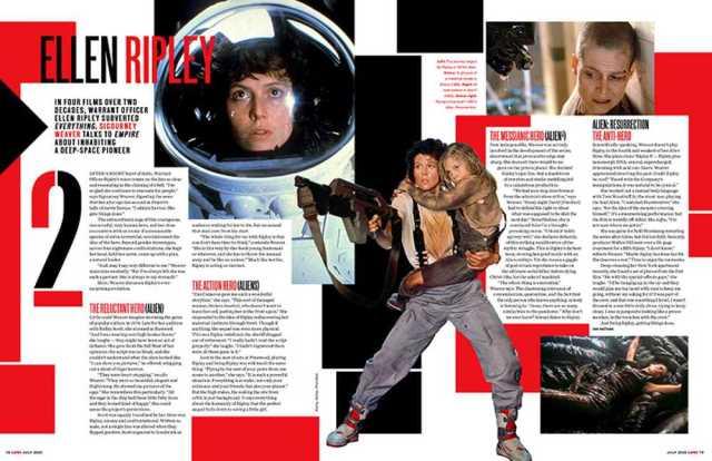 Sigourney Weaver como la Teniente Ellen Ripley en Empire (julio de 2020). Imagen: Empire Magazine