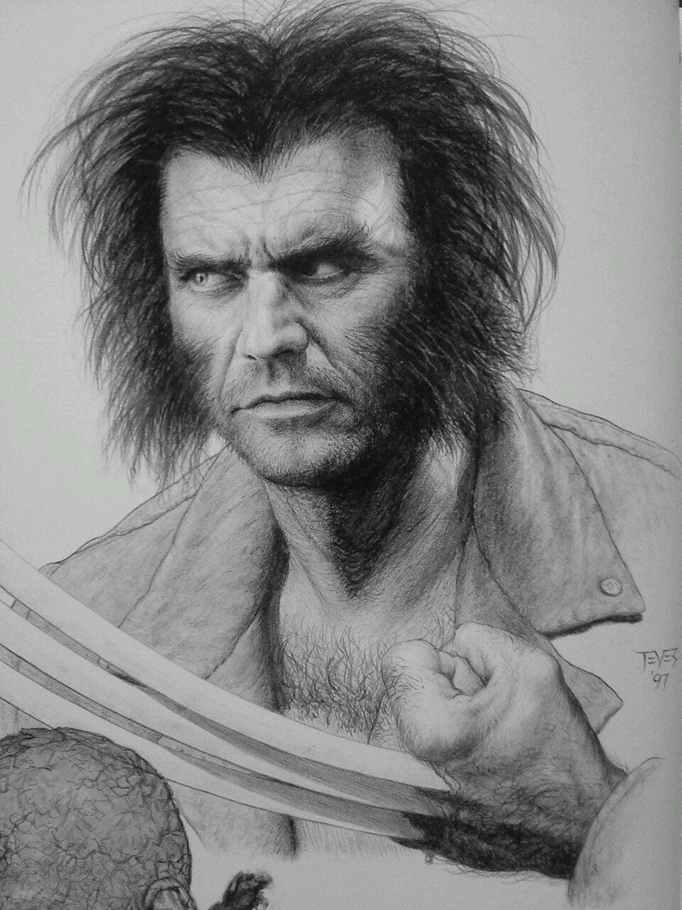 ¿Qué tal si Mel Gibson hubiera interpretado a Wolverine?. Arte conceptual por Miles Teves (1997). Imagen: Will McCrabb (@mccrabb_will).