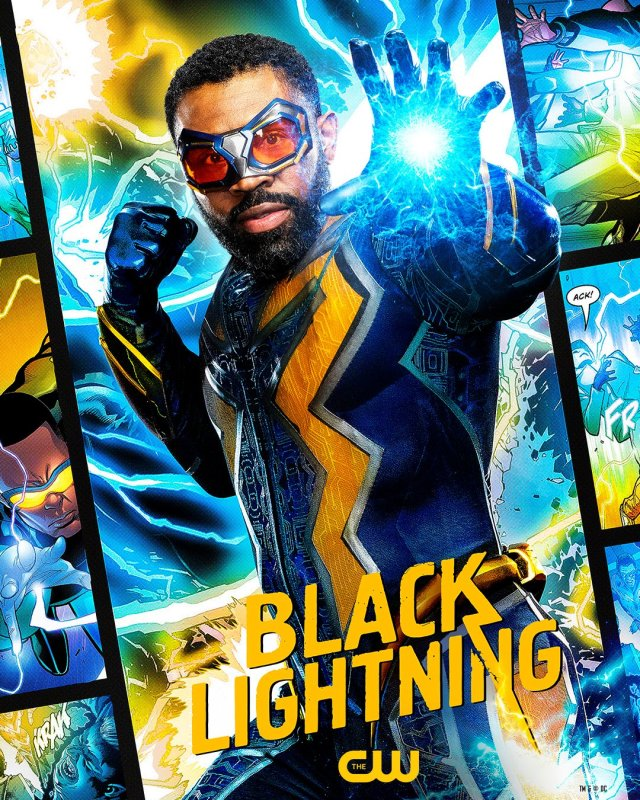 Black Lightning (Cress Williams) en un póster de Black Lightning. Imagen: Black Lightning Twitter (@blacklightning).