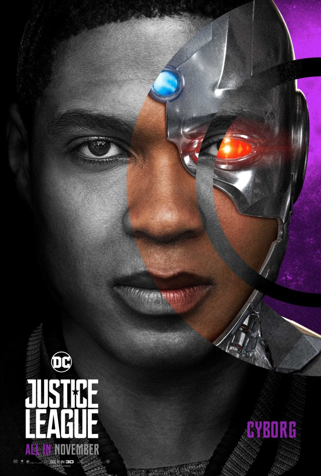 Cyborg/Victor Stone (Ray Fisher) en un póster de Justice League (2017). Imagen: impawards.com