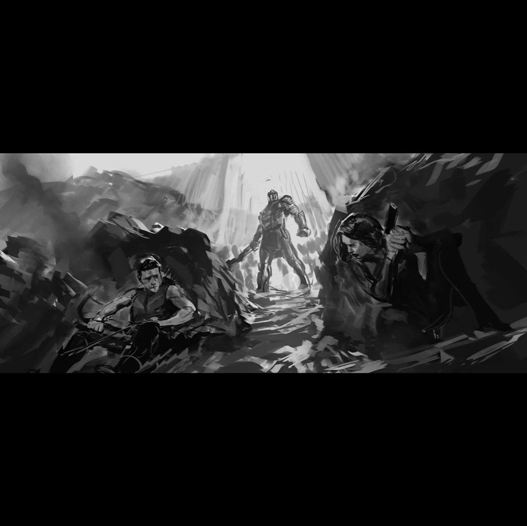 Black Widow (Scarlett Johanson), Hawkeye (Jeremy Renner) y Thanos (Josh Brolin) en arte conceptual de Avengers: Endgame (2019). Imagen: Ryan Meinerding Instagram (@ryan_meinerding_art).