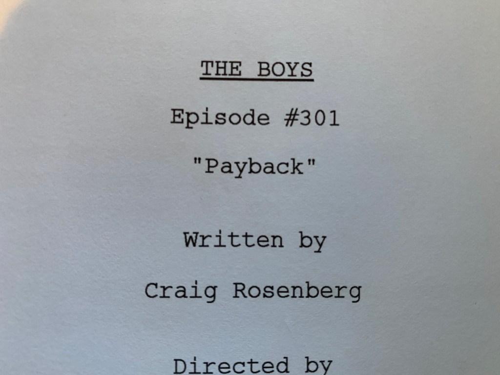 El título del episodio 301 de The Boys. Imagen: Eric Kripke Twitter (@therealKripke).