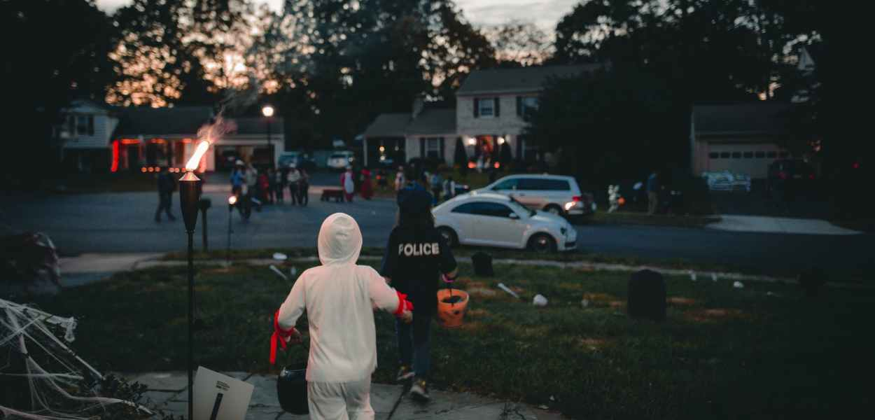 group of children in halloween costumes