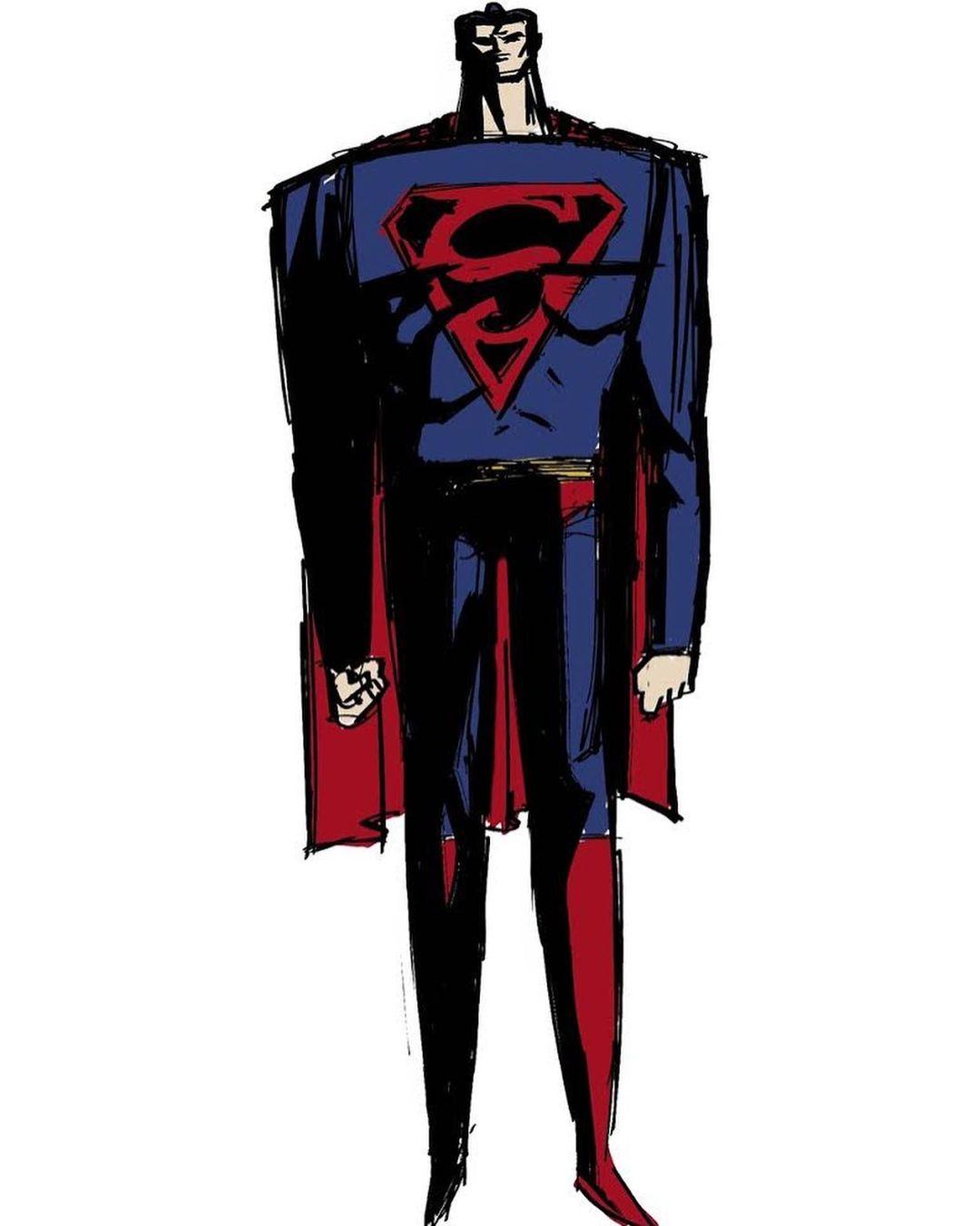 Superman en arte por Genndy Tartakovsky. Imagen: Genndy Tartakovsky Instagram (@genndytartakovsky).