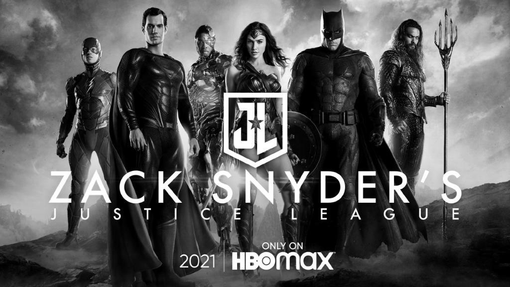 Flash (Ezra Miller), Superman (Henry Cavill), Cyborg (Ray Fisher), Wonder Woman (Gal Gadot), Batman (Ben Affleck) y Aquaman (Jason Momoa) en un póster de Zack Snyder's Justice League (2021). Imagen: impawards.com