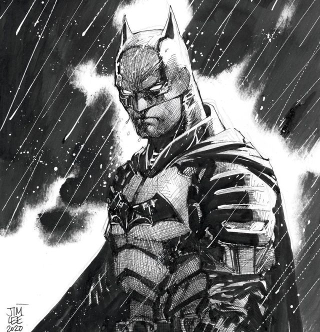 Sketch de The Batman (2022) por Jim Lee. Imagen: Jim Lee Instagram (@jimlee).