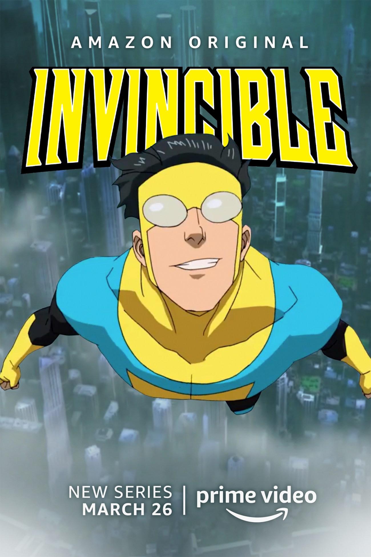 Invincible/Mark Grayson (voz de Steven Yeun) en un póster promocional de Invincible. Imagen: Amazon Prime Video