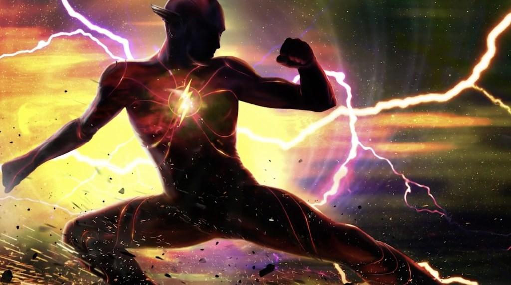 Ezra Miller como Flash/Barry Allen en arte conceptual de The Flash (2022). Imagen: IMDb.com