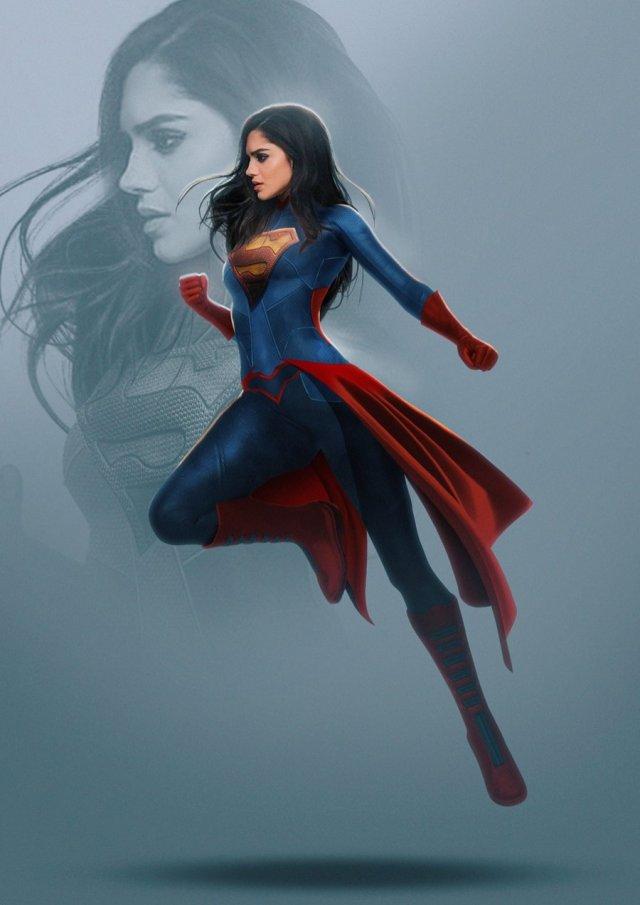 Sasha Calle como Supergirl por el artista BossLogic. Imagen: BossLogic Twitter (@Bosslogic).