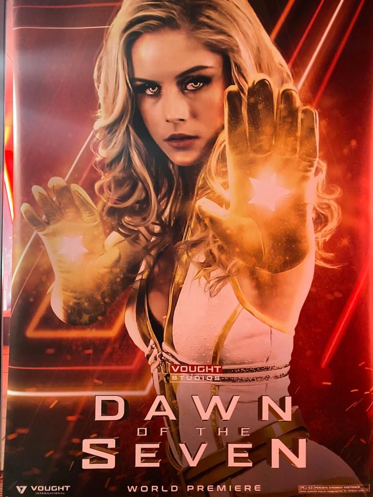 Starlight (Erin Moriarty) en un póster de Dawn of the Seven desde el set de la temporada 3 de The Boys. Imagen: Eric Kripke Twitter (@therealKripke).